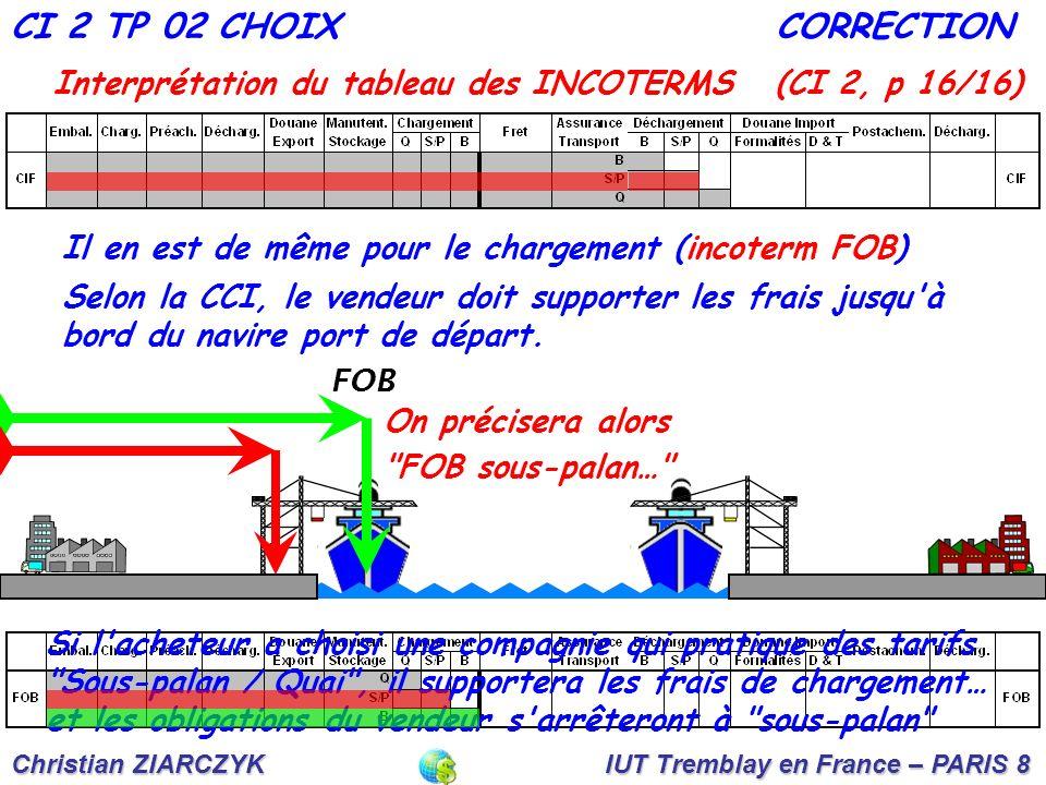 Christian ZIARCZYK IUT Tremblay en France – PARIS 8 Interprétation du tableau des INCOTERMS (CI 2, p 16/16) CI 2 TP 02 CHOIXCORRECTION Selon la CCI, le vendeur doit supporter les frais jusqu à bord du navire port de départ.