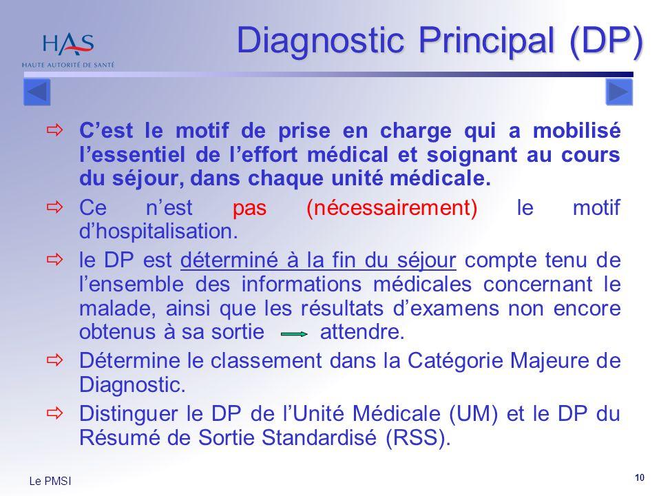 Le PMSI 10 Diagnostic Principal (DP) Cest le motif de prise en charge qui a mobilisé lessentiel de leffort médical et soignant au cours du séjour, dans chaque unité médicale.