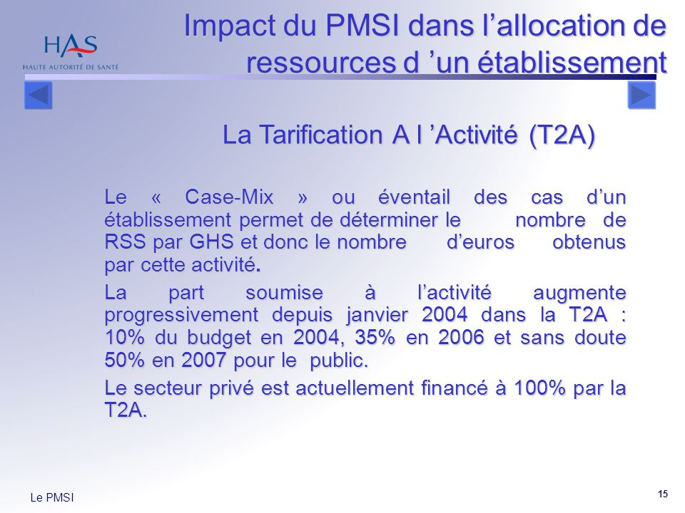 Le PMSI 15 Le « Case-Mix » ou éventail des cas dun établissement permet de déterminer le nombre de RSS par GHS et donc le nombre deuros obtenus par cette activité.