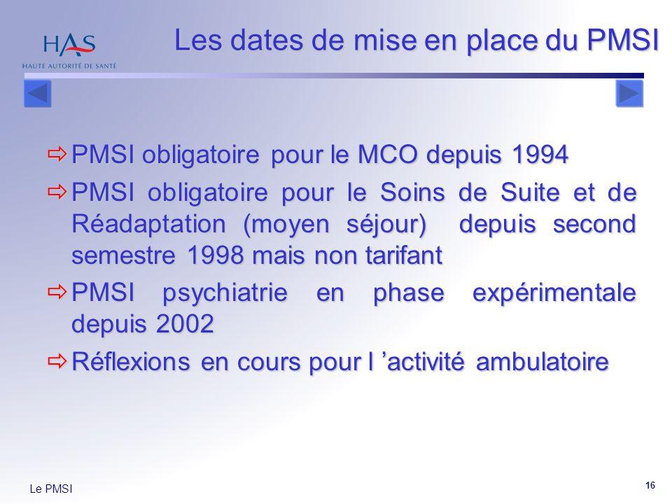 Le PMSI 16 PMSI obligatoire pour le MCO depuis 1994 PMSI obligatoire pour le MCO depuis 1994 PMSI obligatoire pour le Soins de Suite et de Réadaptation (moyen séjour) depuis second semestre 1998 mais non tarifant PMSI obligatoire pour le Soins de Suite et de Réadaptation (moyen séjour) depuis second semestre 1998 mais non tarifant PMSI psychiatrie en phase expérimentale depuis 2002 PMSI psychiatrie en phase expérimentale depuis 2002 Réflexions en cours pour l activité ambulatoire Réflexions en cours pour l activité ambulatoire Les dates de mise en place du PMSI