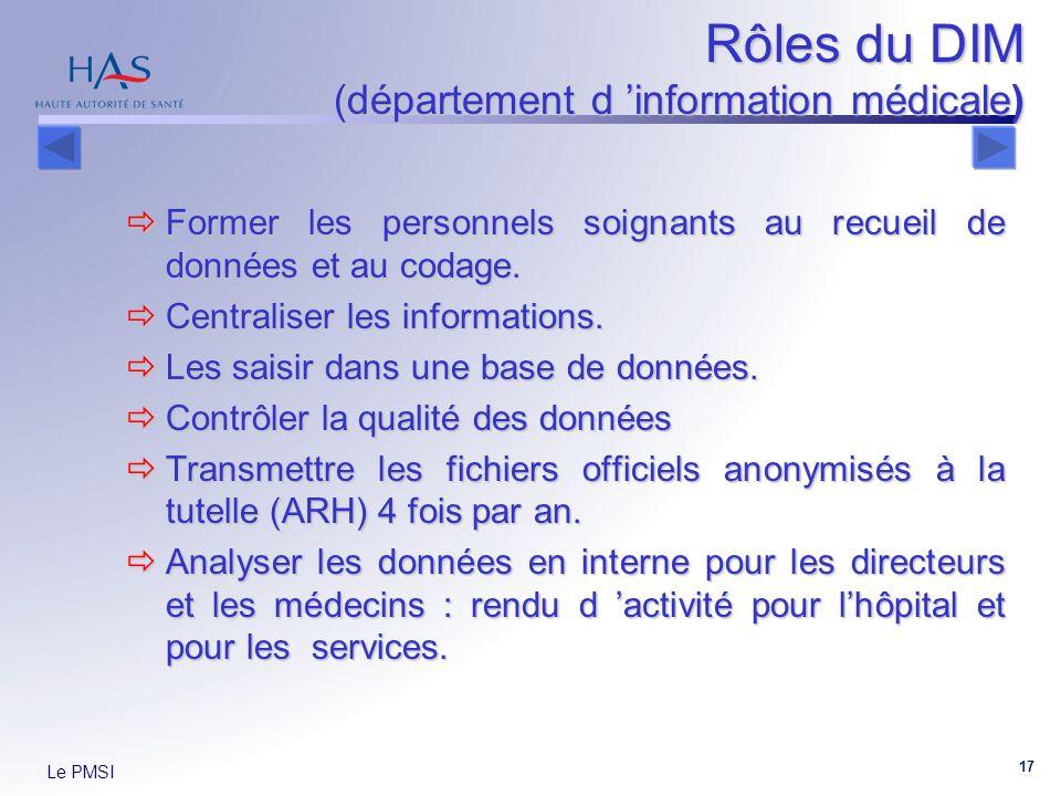 Le PMSI 17 Rôles du DIM (département d information médicale) Former les personnels soignants au recueil de données et au codage. Former les personnels