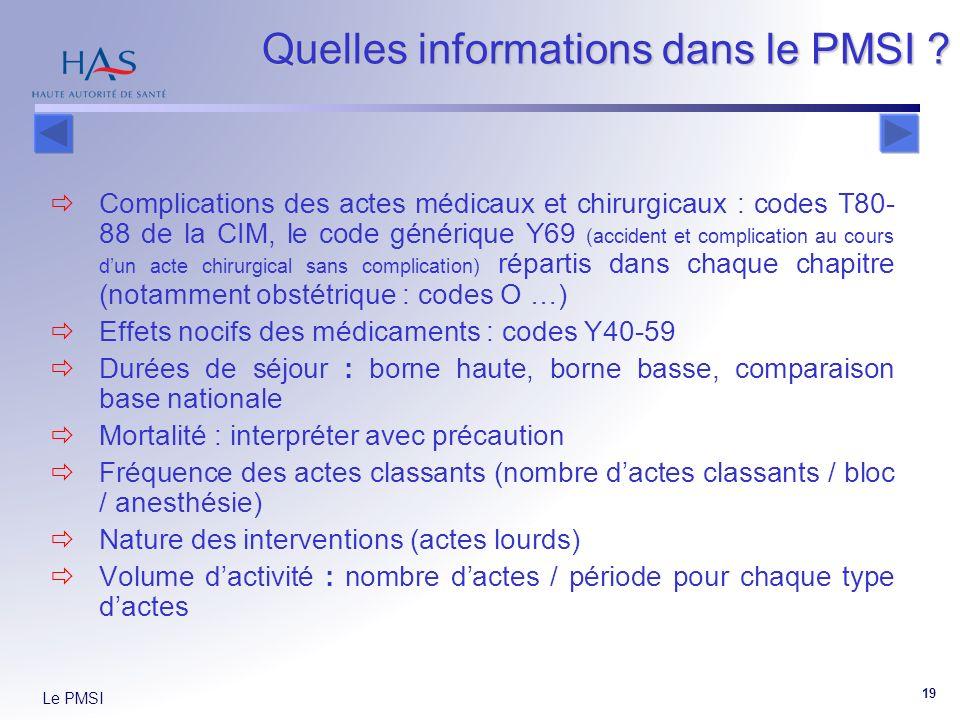 Le PMSI 19 Quelles informations dans le PMSI ? Complications des actes médicaux et chirurgicaux : codes T80- 88 de la CIM, le code générique Y69 (acci