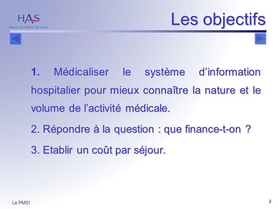 Le PMSI 2 Les objectifs 1. Médicaliser le système dinformation hospitalier pour mieux connaître la nature et le volume de lactivité médicale. 2. Répon