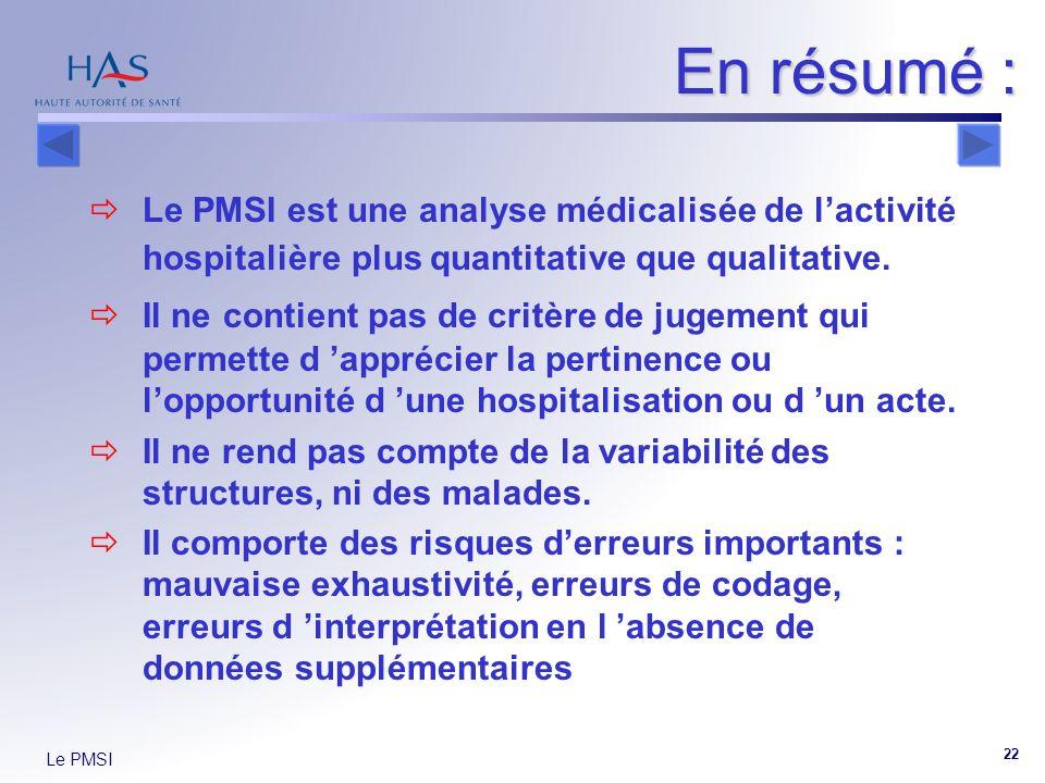 Le PMSI 22 En résumé : Le PMSI est une analyse médicalisée de lactivité hospitalière plus quantitative que qualitative. Il ne contient pas de critère