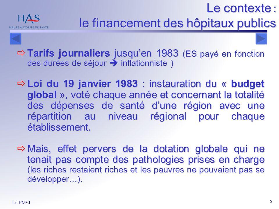 Le PMSI 5 Le contexte : le financement des hôpitaux publics Tarifs journaliers jusquen 1983 (ES payé en fonction des durées de séjour inflationniste )
