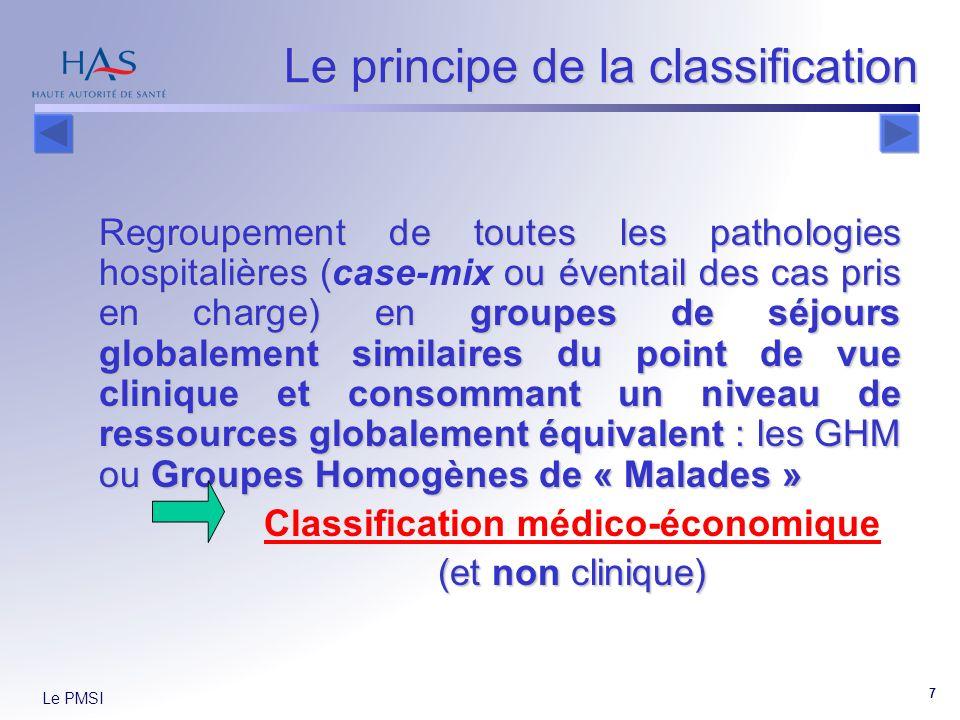 Le PMSI 7 Le principe de la classification Regroupement de toutes les pathologies hospitalières ( ou éventail des cas pris en charge) en groupes de séjours globalement similaires du point de vue clinique et consommant un niveau de ressources globalement équivalent : les GHM ou Groupes Homogènes de « Malades » Regroupement de toutes les pathologies hospitalières (case-mix ou éventail des cas pris en charge) en groupes de séjours globalement similaires du point de vue clinique et consommant un niveau de ressources globalement équivalent : les GHM ou Groupes Homogènes de « Malades » Classification médico-économique (et non clinique)