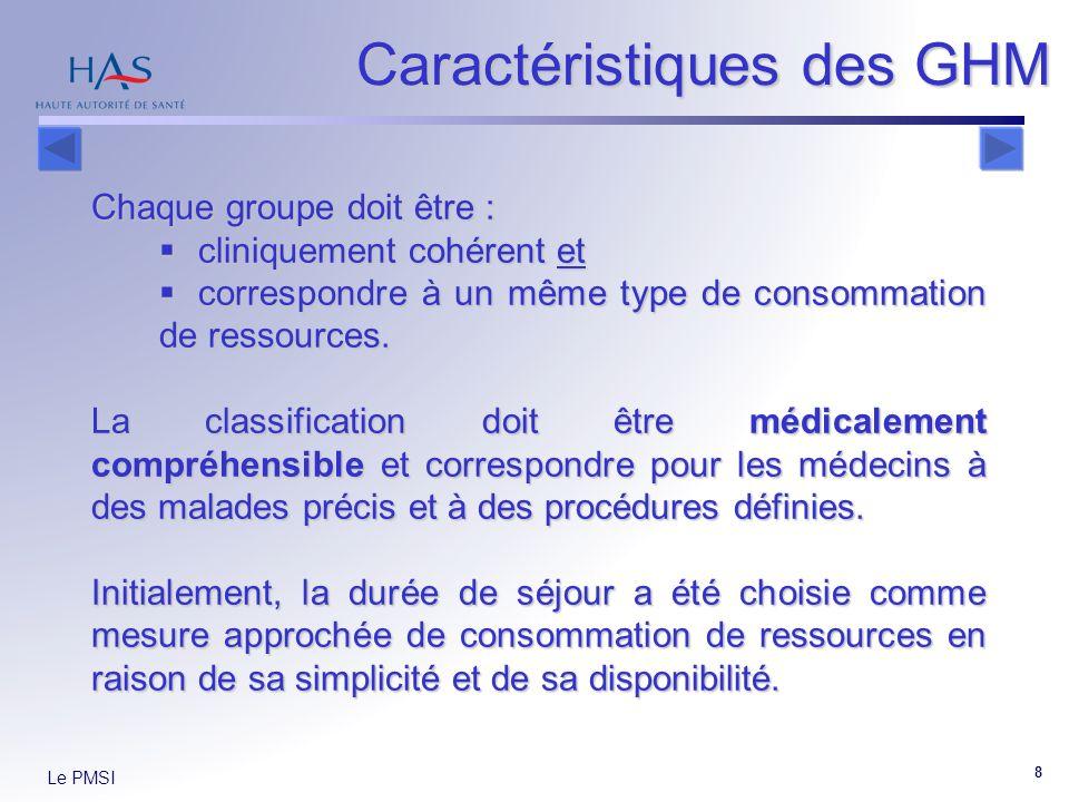 Le PMSI 8 Caractéristiques des GHM Chaque groupe doit être : cliniquement cohérent et cliniquement cohérent et correspondre à un même type de consomma