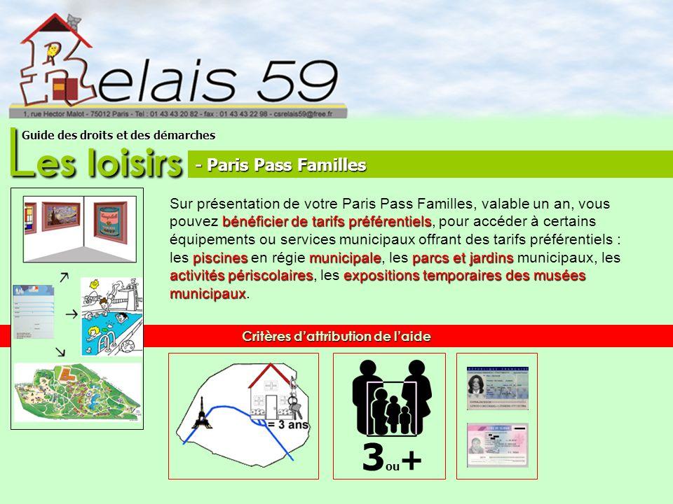 L es loisirs Guide des droits et des démarches bénéficier de tarifs préférentiels piscines municipaleparcs et jardins activités périscolairesexpositio