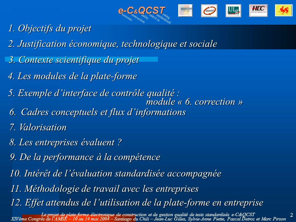Le projet de plate-forme électronique de construction et de gestion qualité de tests standardisés e-C&QCST XIVème Congrès de lAMSE – 10 au 14 mai 2004 – Santiago du Chili – Jean-Luc Gilles, Sylvie-Anne Piette, Pascal Detroz et Marc Pirson 2 1.