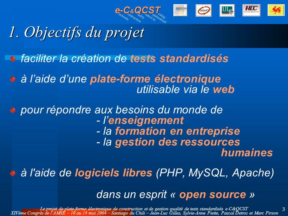 Le projet de plate-forme électronique de construction et de gestion qualité de tests standardisés e-C&QCST XIVème Congrès de lAMSE – 10 au 14 mai 2004 – Santiago du Chili – Jean-Luc Gilles, Sylvie-Anne Piette, Pascal Detroz et Marc Pirson 4 2.