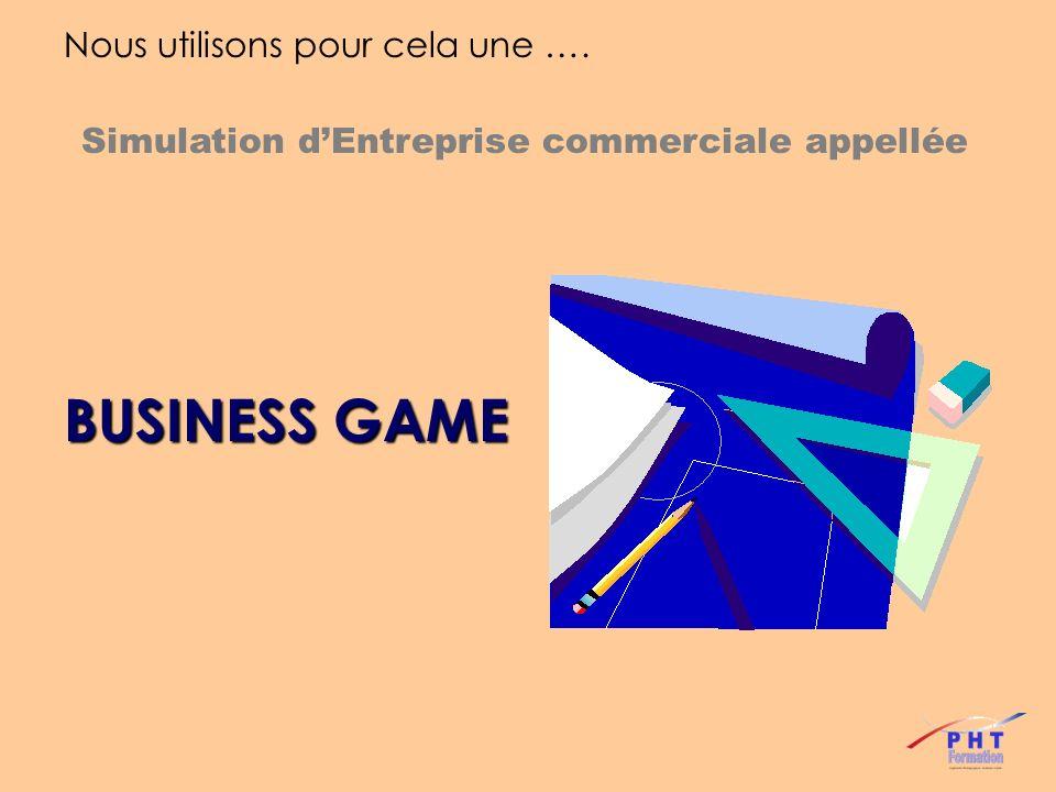 Le Business Game : Cest la technique pédagogique la plus adaptée car elle permet une mise en situation proche de la réalité et directement transposable après la formation.