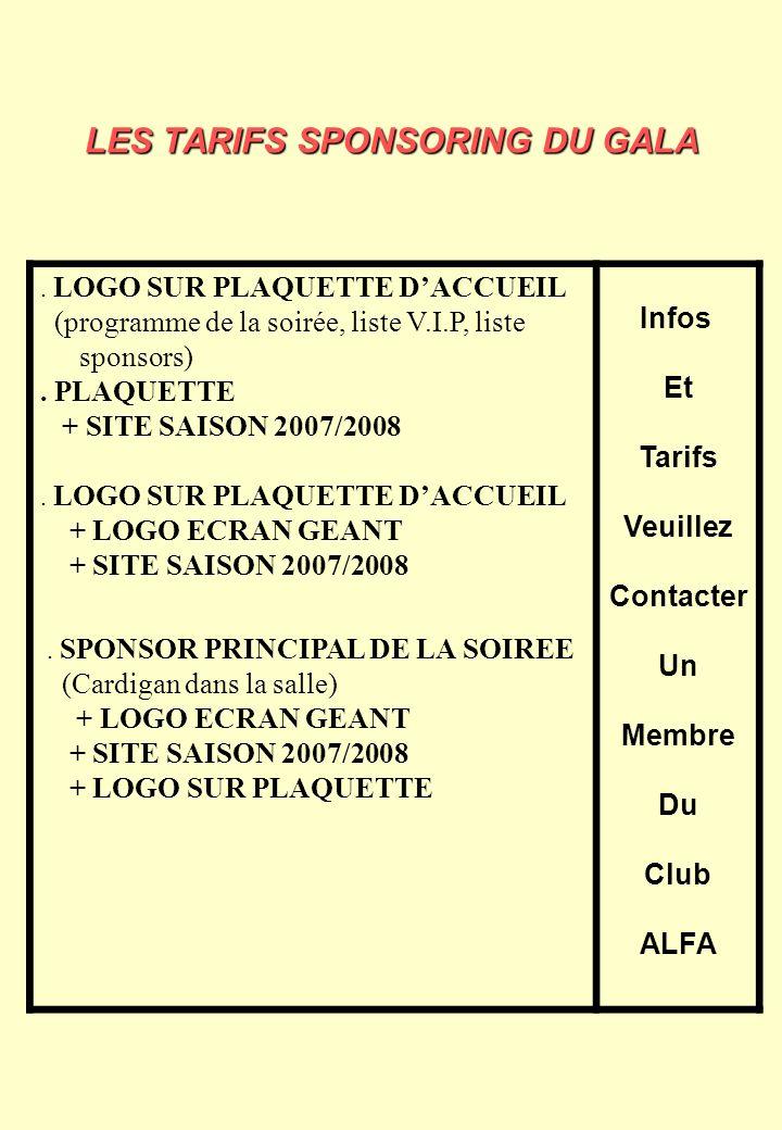 LES TARIFS SPONSORING DU GALA. LOGO SUR PLAQUETTE DACCUEIL (programme de la soirée, liste V.I.P, liste sponsors). PLAQUETTE + SITE SAISON 2007/2008. L