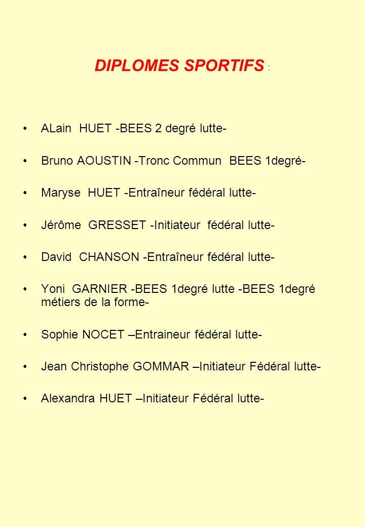 DIPLOMES SPORTIFS : ALain HUET -BEES 2 degré lutte- Bruno AOUSTIN -Tronc Commun BEES 1degré- Maryse HUET -Entraîneur fédéral lutte- Jérôme GRESSET -In