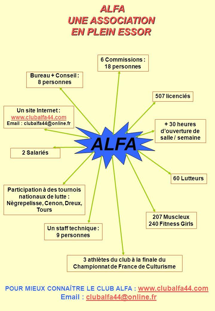 ALFA Bureau + Conseil : 8 personnes 6 Commissions : 18 personnes Un site Internet : www.clubalfa44.com www.clubalfa44.com Email : clubalfa44@online.fr