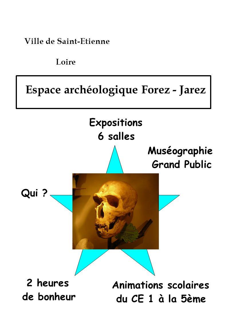 Espace archéologique Forez - Jarez Ville de Saint-Etienne Loire Expositions 6 salles Qui ? Muséographie Grand Public Animations scolaires du CE 1 à la
