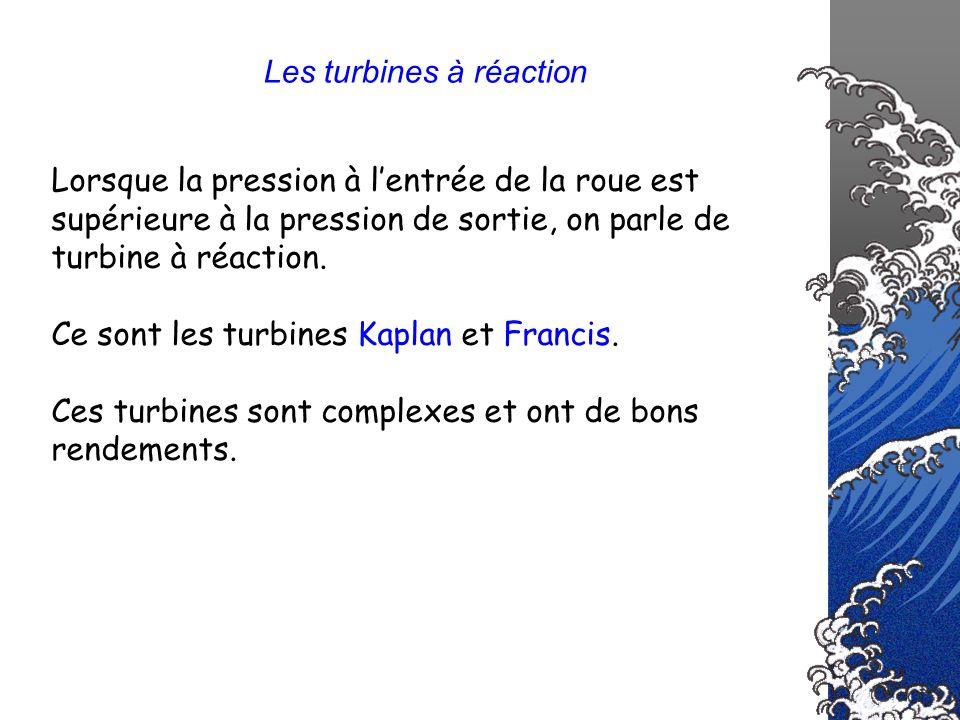 Les turbines à réaction Lorsque la pression à lentrée de la roue est supérieure à la pression de sortie, on parle de turbine à réaction. Ce sont les t