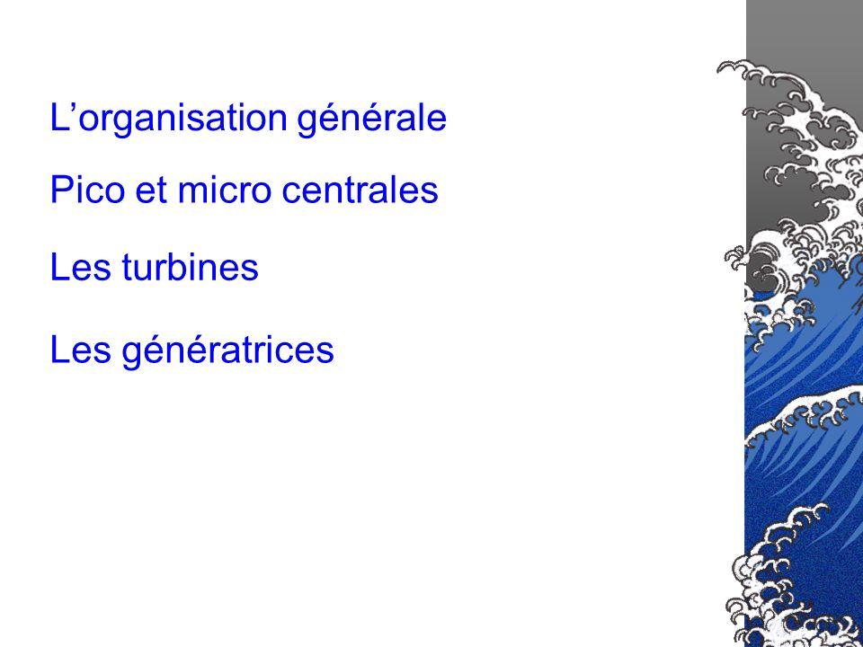 Lorganisation générale Les turbines Les génératrices Pico et micro centrales