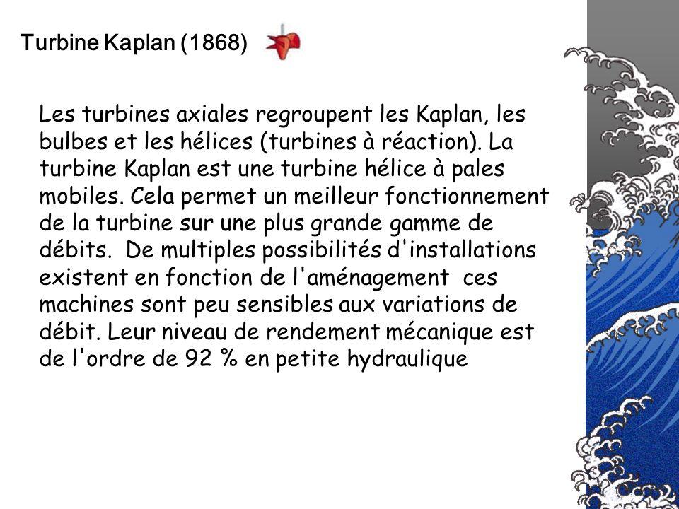 Turbine Kaplan (1868) Les turbines axiales regroupent les Kaplan, les bulbes et les hélices (turbines à réaction). La turbine Kaplan est une turbine h
