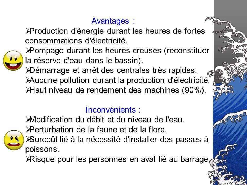 Avantages : Production d'énergie durant les heures de fortes consommations d'électricité. Pompage durant les heures creuses (reconstituer la réserve d