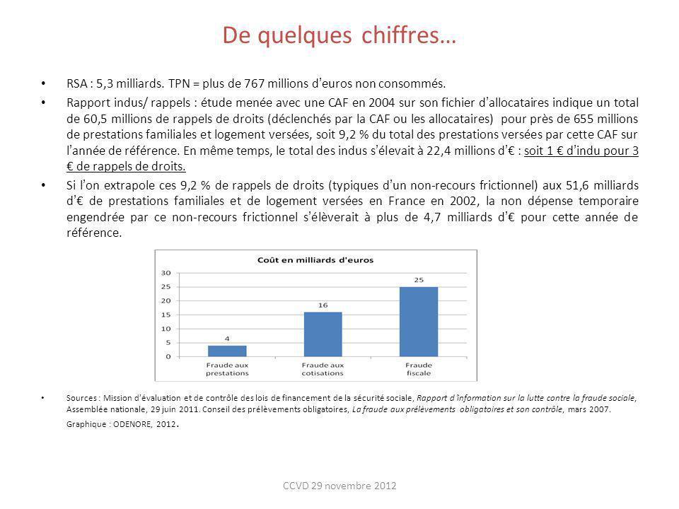 De quelques chiffres… RSA : 5,3 milliards. TPN = plus de 767 millions deuros non consommés. Rapport indus/ rappels : étude menée avec une CAF en 2004
