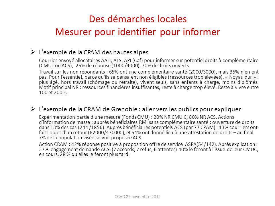 Des démarches locales Mesurer pour identifier pour informer Lexemple de la CPAM des hautes alpes Courrier envoyé allocataires AAH, ALS, API (Caf) pour
