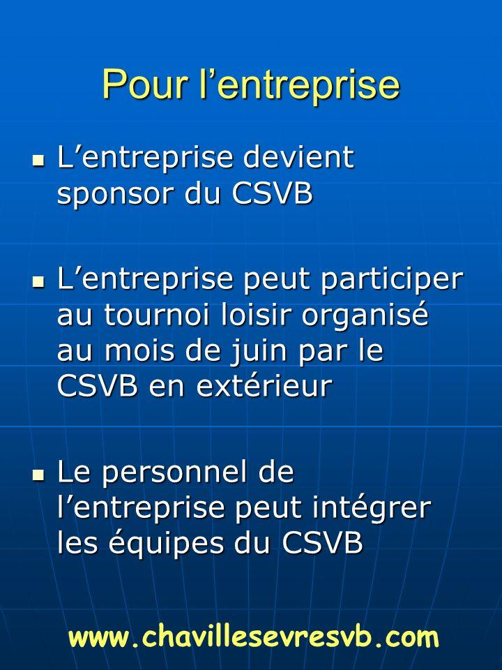 Pour lentreprise Lentreprise devient sponsor du CSVB Lentreprise devient sponsor du CSVB Lentreprise peut participer au tournoi loisir organisé au moi