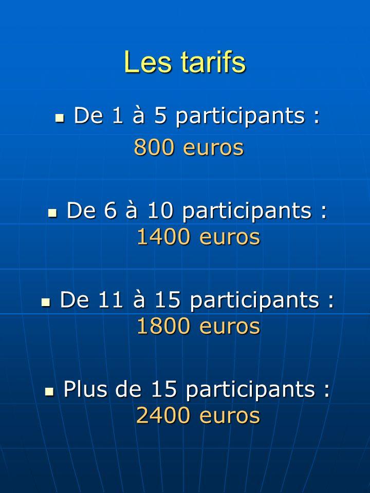 Les tarifs De 1 à 5 participants : De 1 à 5 participants : 800 euros De 6 à 10 participants : 1400 euros De 6 à 10 participants : 1400 euros De 11 à 15 participants : 1800 euros De 11 à 15 participants : 1800 euros Plus de 15 participants : 2400 euros Plus de 15 participants : 2400 euros
