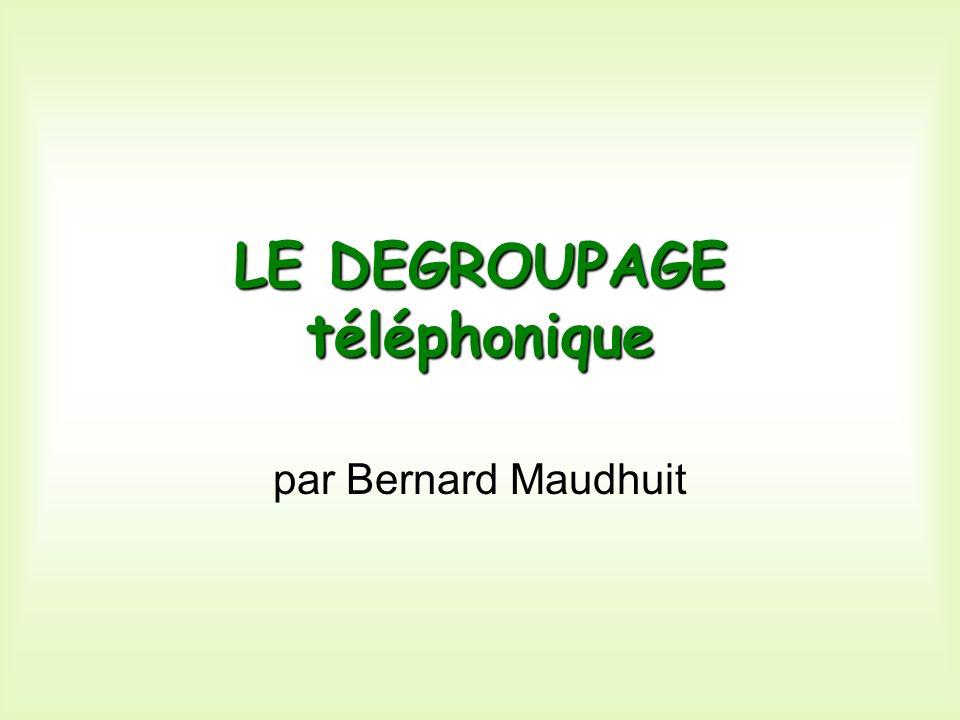 LE DEGROUPAGE la lignece mot, à la mode, désigne le fait de séparer la ligne téléphonique physique téléphonique physique de labonnement au téléphone, de manière à permettre à des opérateurs concurrents de France-Télécom dêtre reliés à leurs abonnés.