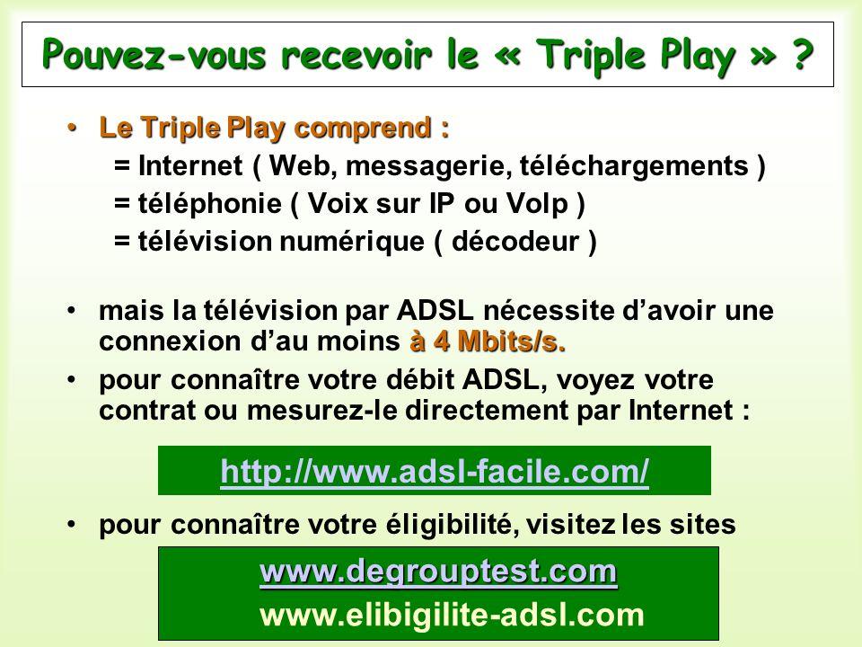 Pouvez-vous recevoir le « Triple Play » ? Le Triple Play comprend :Le Triple Play comprend : = Internet ( Web, messagerie, téléchargements ) = télépho