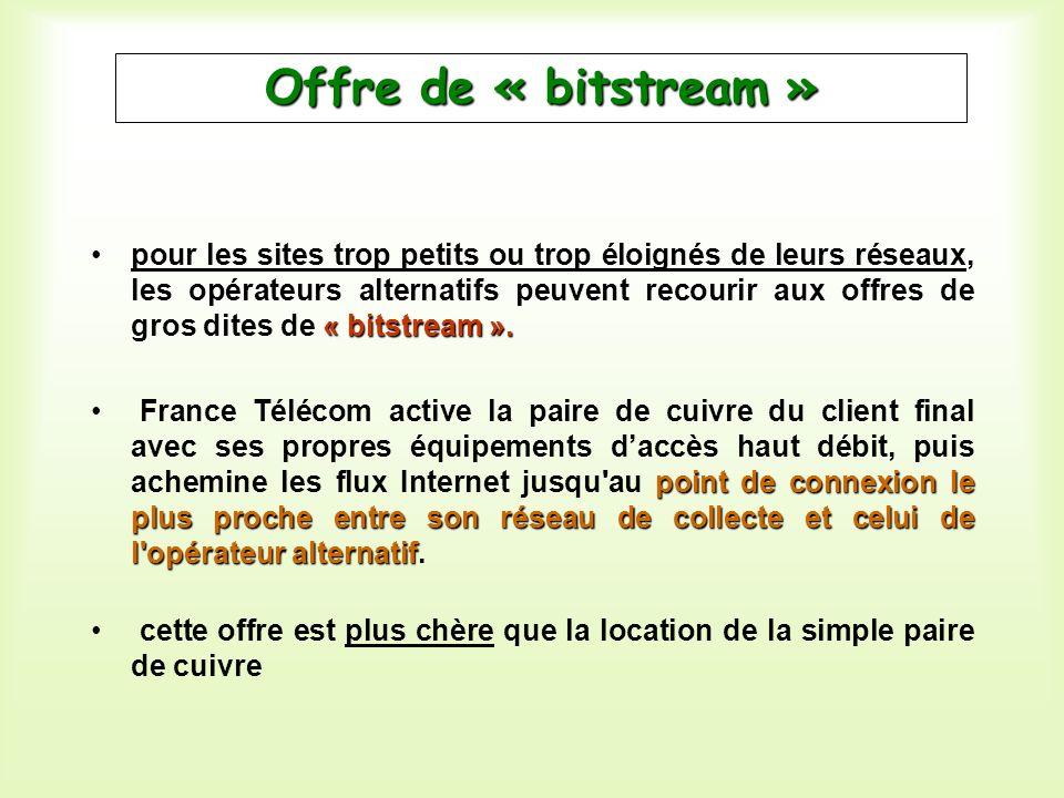 « bitstream ».pour les sites trop petits ou trop éloignés de leurs réseaux, les opérateurs alternatifs peuvent recourir aux offres de gros dites de «