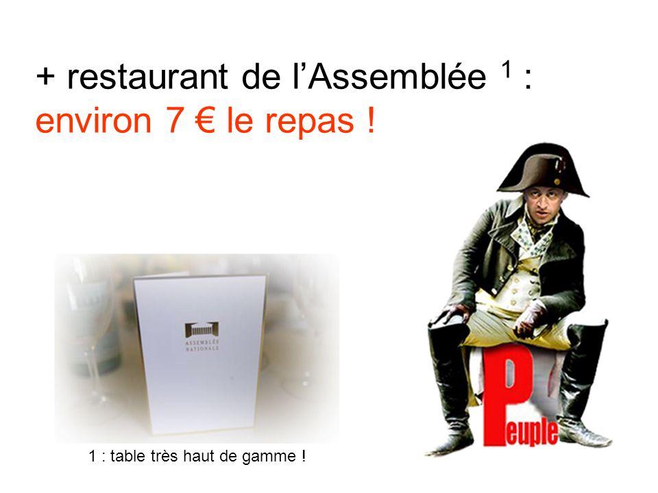 + restaurant de lAssemblée 1 : environ 7 le repas ! 1 : table très haut de gamme !