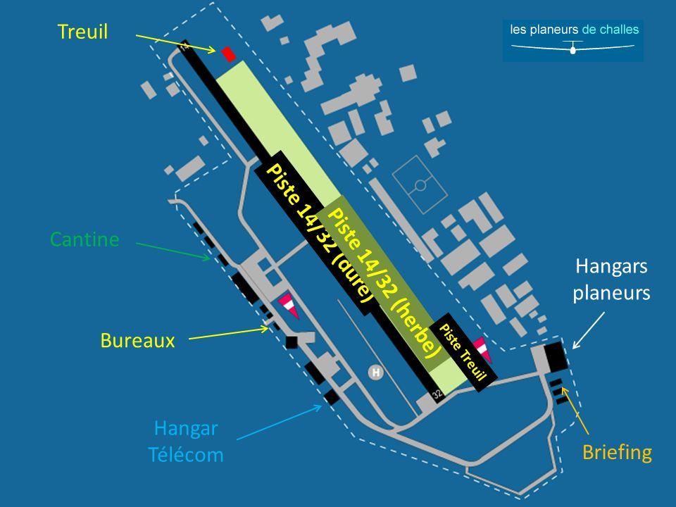 Bureaux Hangar Télécom Cantine Briefing Hangars planeurs Piste 14/32 (dure) Piste 14/32 (herbe) Piste Treuil Treuil