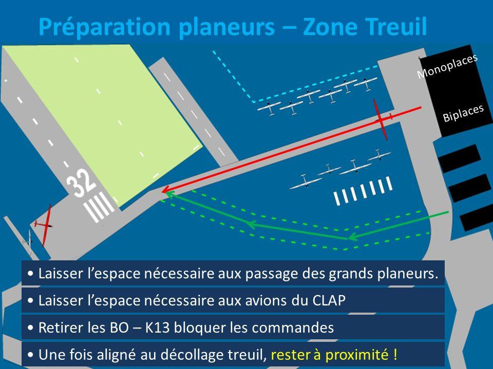 Préparation planeurs – Zone Treuil Laisser lespace nécessaire aux passage des grands planeurs. Laisser lespace nécessaire aux avions du CLAP Retirer l