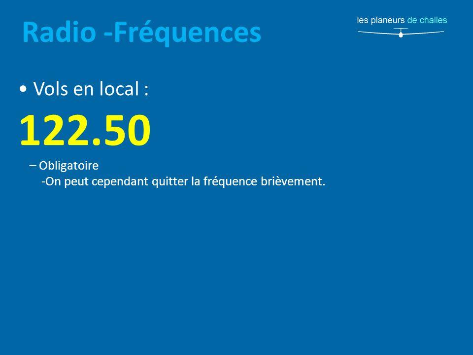 Radio -Fréquences Vols en local : 122.50 – Obligatoire -On peut cependant quitter la fréquence brièvement.