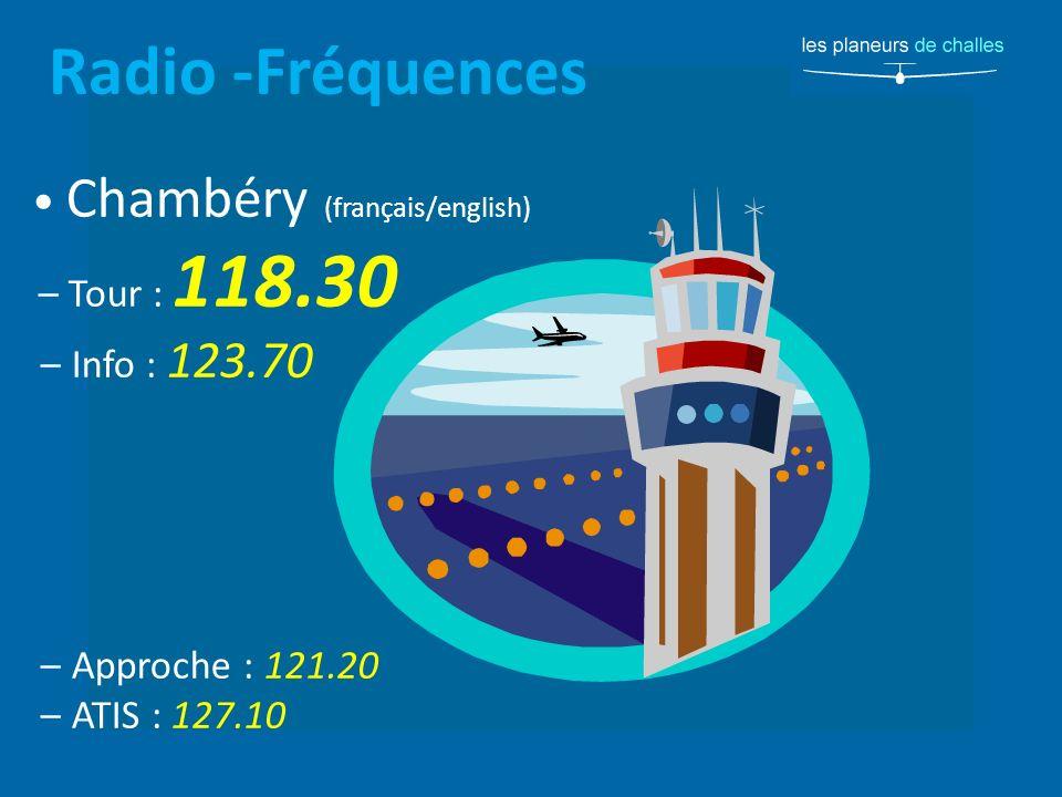 Radio -Fréquences Chambéry (français/english) – Tour : 118.30 – Info : 123.70 – Approche : 121.20 – ATIS : 127.10