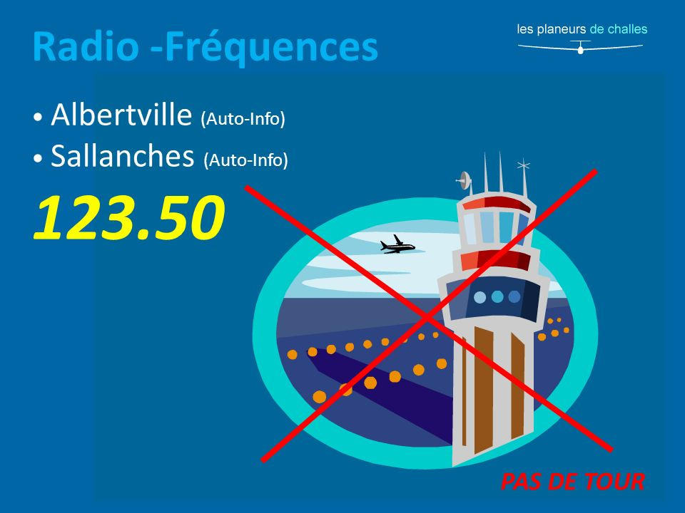 Radio -Fréquences Albertville (Auto-Info) Sallanches (Auto-Info) 123.50 PAS DE TOUR