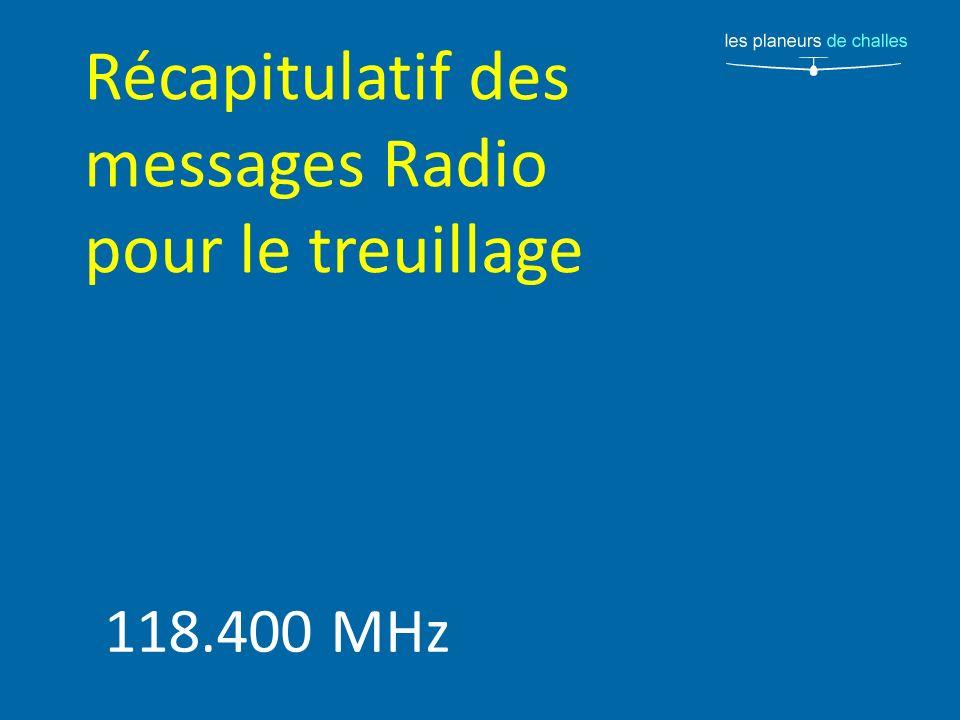 Récapitulatif des messages Radio pour le treuillage 118.400 MHz