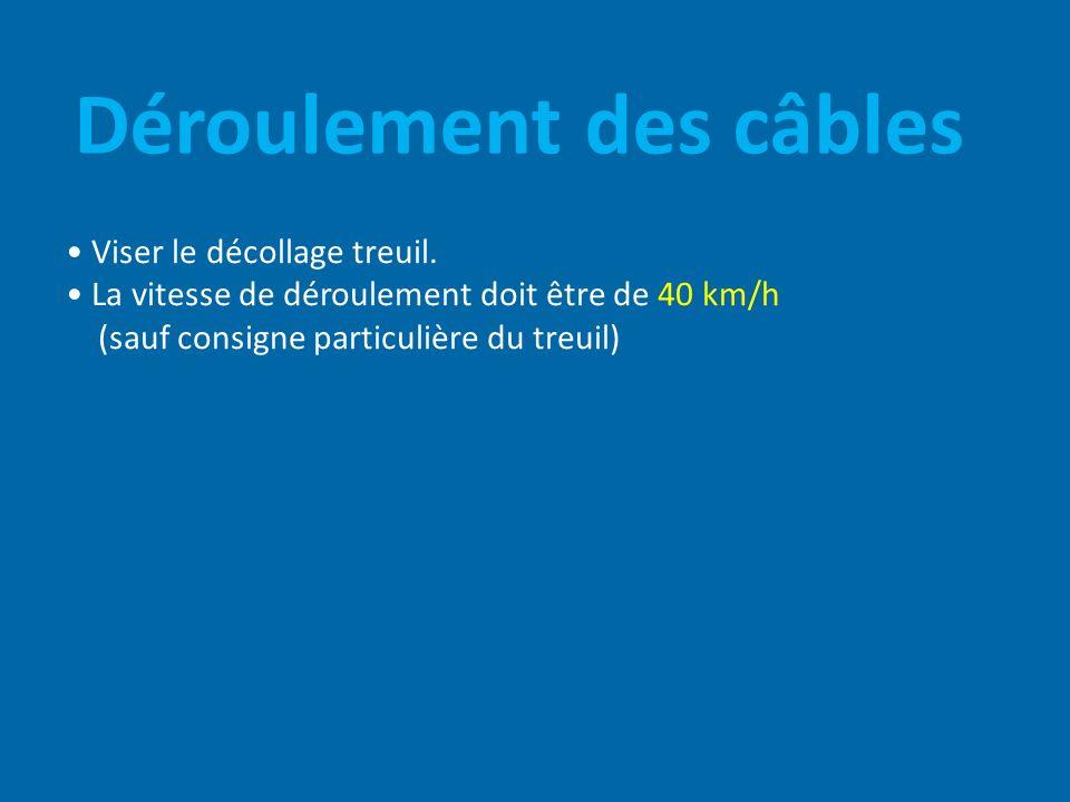Déroulement des câbles Viser le décollage treuil. La vitesse de déroulement doit être de 40 km/h (sauf consigne particulière du treuil)