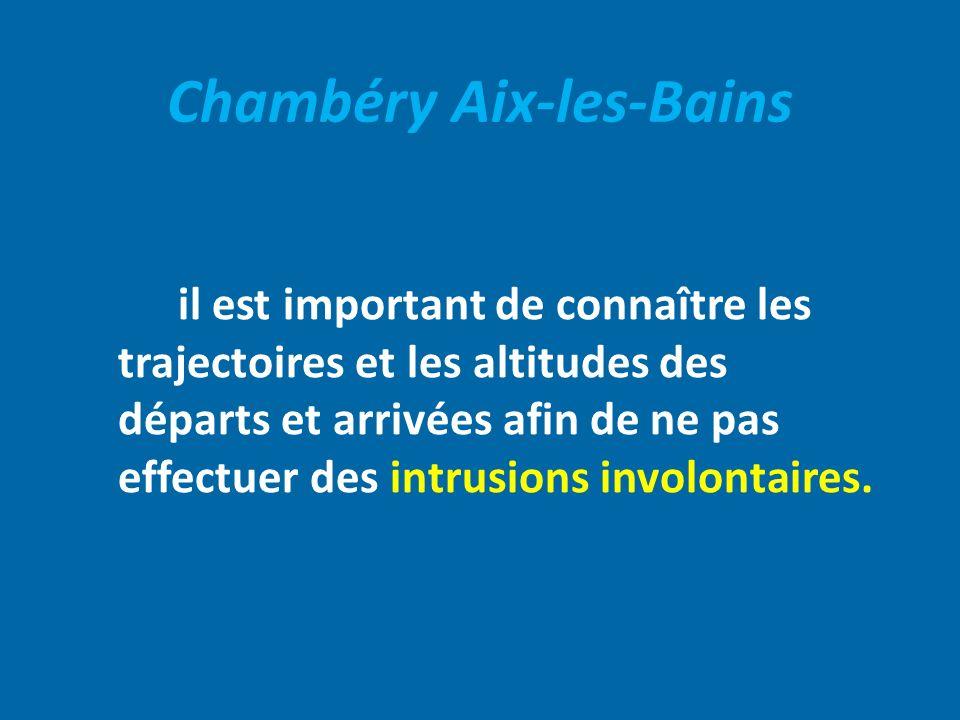 Chambéry Aix-les-Bains il est important de connaître les trajectoires et les altitudes des départs et arrivées afin de ne pas effectuer des intrusions