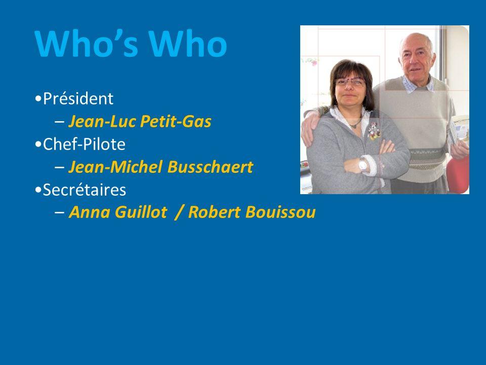 Whos Who Président – Jean-Luc Petit-Gas Chef-Pilote – Jean-Michel Busschaert Secrétaires – Anna Guillot / Robert Bouissou