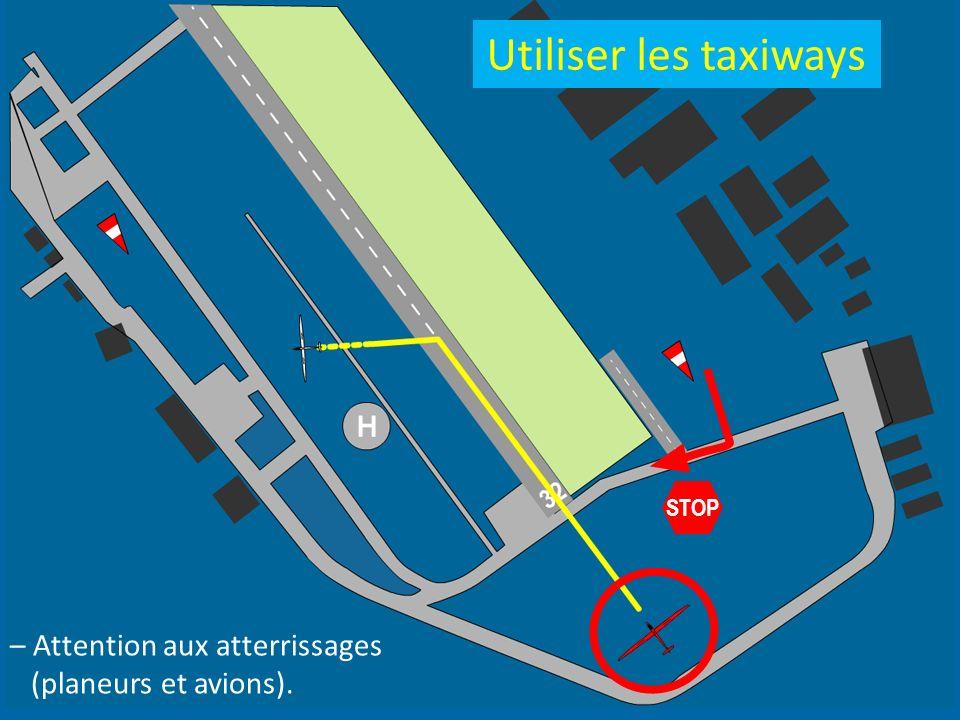 STOP – Attention aux atterrissages (planeurs et avions). Utiliser les taxiways