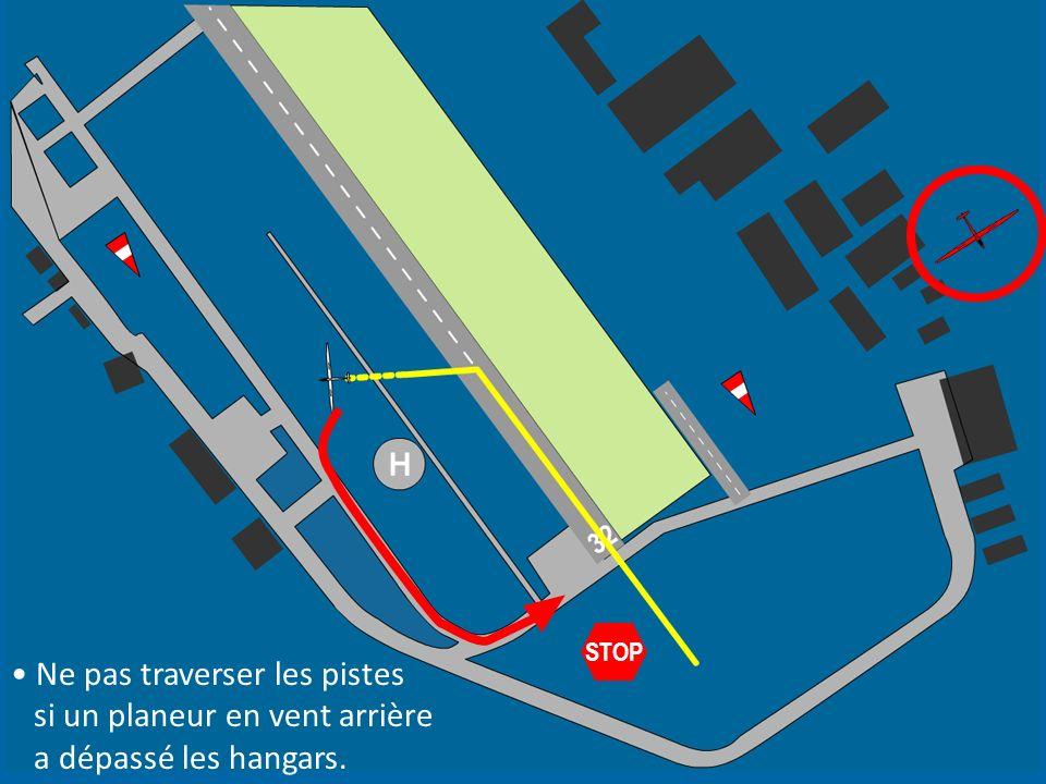 STOP Ne pas traverser les pistes si un planeur en vent arrière a dépassé les hangars.