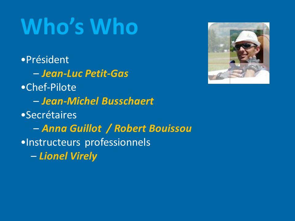 Whos Who Président – Jean-Luc Petit-Gas Chef-Pilote – Jean-Michel Busschaert Secrétaires – Anna Guillot / Robert Bouissou Instructeurs professionnels – Lionel Virely