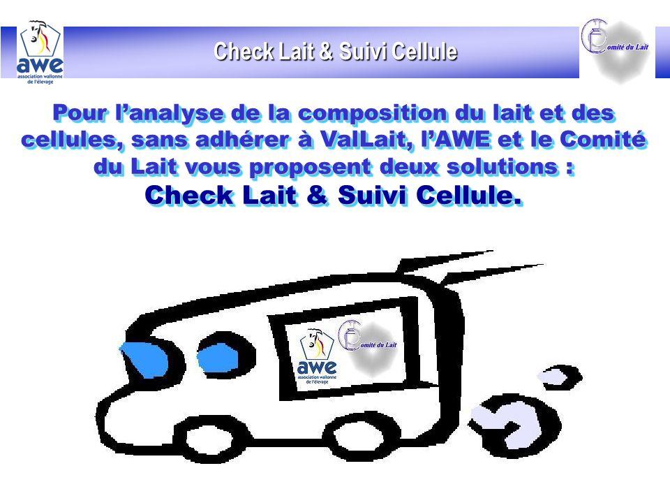 Check Lait & Suivi Cellule Pour lanalyse de la composition du lait et des cellules, sans adhérer à ValLait, lAWE et le Comité du Lait vous proposent deux solutions : Check Lait & Suivi Cellule.