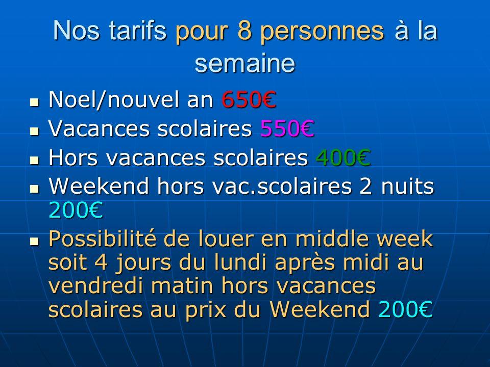 Nos tarifs pour 8 personnes à la semaine Noel/nouvel an 650 Noel/nouvel an 650 Vacances scolaires 550 Vacances scolaires 550 Hors vacances scolaires 4