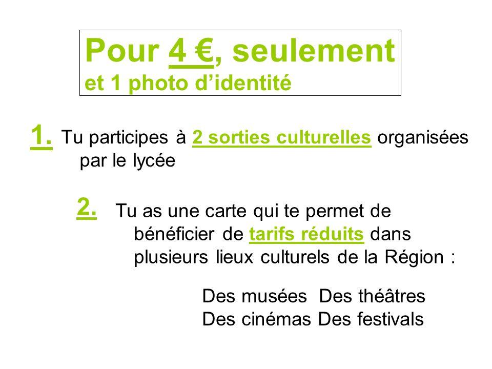 Pour 4, seulement et 1 photo didentité Tu participes à 2 sorties culturelles organisées par le lycée Tu as une carte qui te permet de bénéficier de ta