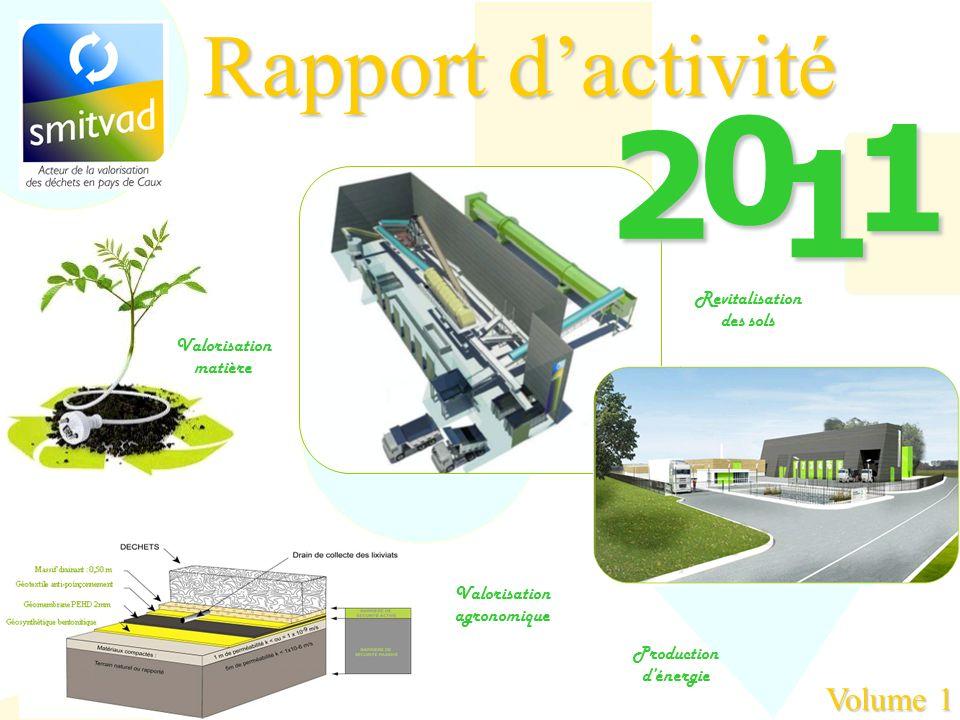 Rapport dactivité 2 0 1 1 Revitalisation des sols Valorisation agronomique Production dénergie Valorisation matière Volume 1