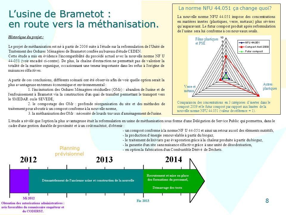 8 Lusine de Brametot : en route vers la méthanisation. Historique du projet : Le projet de méthanisation est né à partir de 2006 suite à l'étude sur l