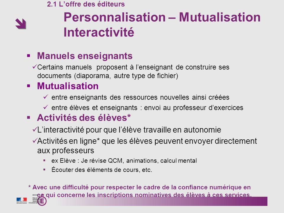 2.1 Loffre des éditeurs Personnalisation – Mutualisation Interactivité Manuels enseignants Certains manuels proposent à lenseignant de construire ses