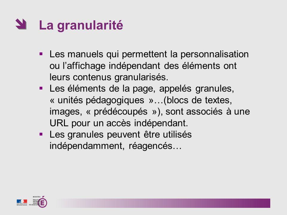 La granularité Les manuels qui permettent la personnalisation ou laffichage indépendant des éléments ont leurs contenus granularisés.